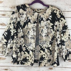 Jessica Howard Sz 16W Floral 3/4 Sleeve Jacket